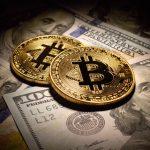 Golden Bitcoins Coins and dollar bills